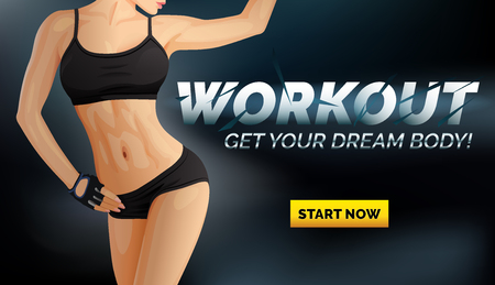 Workout banner poster with slim woman body in black underwear, sportswear top and shorts, online course advertising, vector illustration