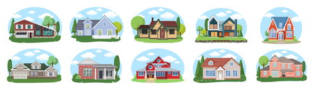 Big houses set, Vector Buildings Set. Flat Design Houses Isolated on White Background. cartoon house exterior with blue clouded sky Front Home Architecture Concept Flat Design Style.