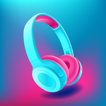Blue and pink headphones isolated on bluee background, realistic vector. Club poster with headphones, dance party, flyer, invitation, banner template, dj event, music album cover, vector illustration.
