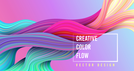Modern colorful flow poster. Wave Liquid shape on multycolor background. Art design for your project. Vector illustration. Иллюстрация