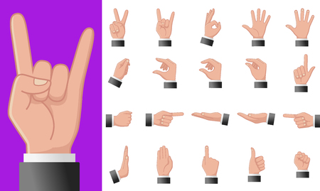 Various gestures of human hands isolated on a white background. Vector flat illustration of male hands in different situations. Vector design elements for infographic, web, internet, presentation. Vektoros illusztráció