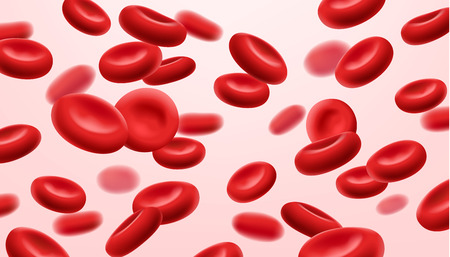 Flowing red blood cells, erythrocyte on white background, health care concept, vector illustration