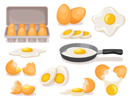 Chicken eggs set, boiled and fried in skillet, in carton package, broken shell, with bright yellow yolk, vector illustration