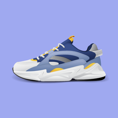 Realistic sport running shoe for training and fitness isolated on color background, trendy sneakers, vector illustration