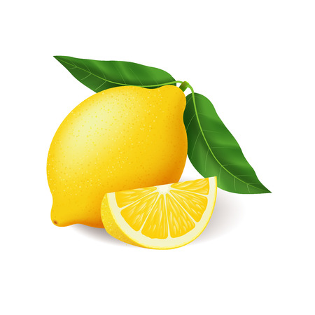 Realistic lemon with green leaf whole and sliced, sour fresh fruit, bright yellow peel, lemon vector illustration isolated on white background  イラスト・ベクター素材