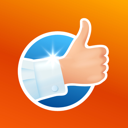 Washing clothes sticker, hand in clean white shirt, hand show thumbs up gesture, like, good laundry detergent result, satisfied client, vector illustration isolated