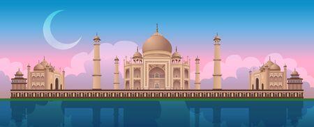 Sunset at Taj Mahal in Agra, India, river Yamuna, gradient beautiful sky with crescent, colorful panoramic vector illustration