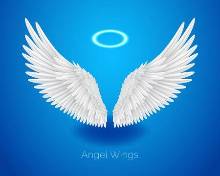 Ailes d'ange blanches et nimbus brillant, halo, plumes réalistes, illustration vectorielle isolée sur fond bleu