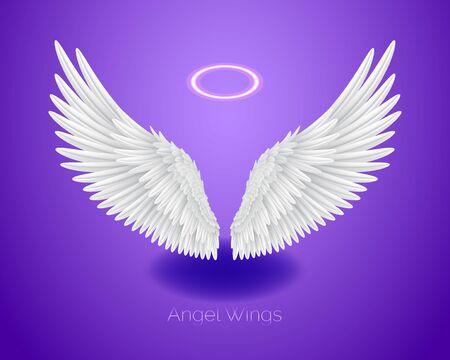 Alas de ángel blanco y nimbo brillante, halo, plumas realistas, ilustración vectorial aislado sobre fondo morado
