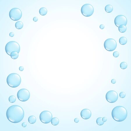 Blue bright sparkling soap bubbles frame, vector illustration Illustration