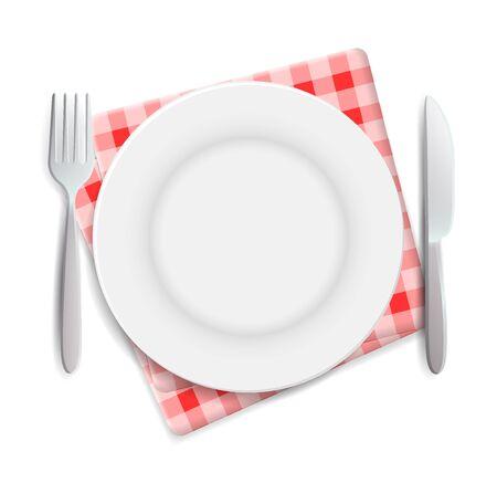 Plato vacío realista, tenedor y cuchillo servidos en la ilustración de vector de vista superior de servilleta roja a cuadros. Puede utilizarse para publicidad.