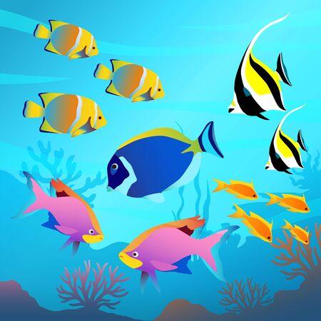 Hermoso mundo submarino, paisaje marino, peces y fondo marino, algas, plantas, corales ilustración vectorial