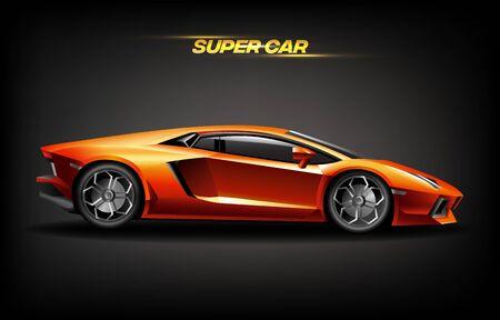 Realistic golden super car design concept, bright orange luxury automobile for high speed presentation, vector illustration