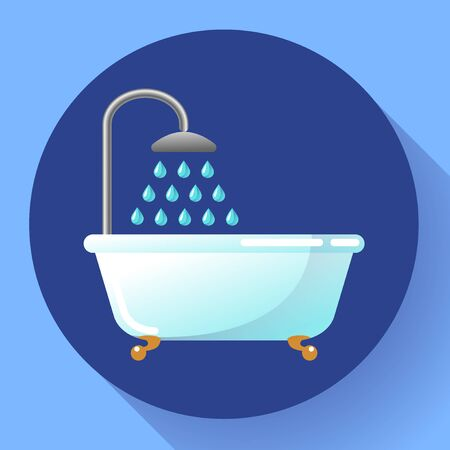 Bathtub with shower flat icon. Water treatments, take a bath or relax in the bathtub vector illustration.
