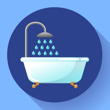 Bathtub with shower flat icon. Water treatments, take a bath or relax in the bathtub vector illustration. Vektorgrafik