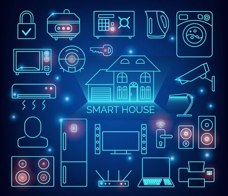 Smart home automation vector background. Connected smart home devices like phone, smart watch, tablet, sensors, appliances. Network of connected devices with flat design