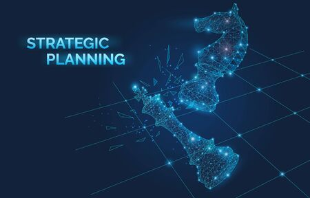 Strategic planning banner with chess pieces, electronic signals, business development, management, knights move beat a competitor, victory checkmate vector illustration 向量圖像