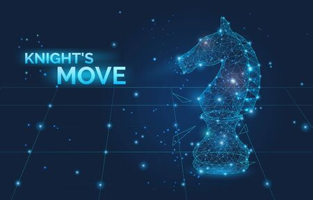 Knights move sign and low poly Chess horse vector illustration. Symbol of business strategy, promotion, competition and leadership. Polygonal wireframe chess horse with dots and lines. 向量圖像