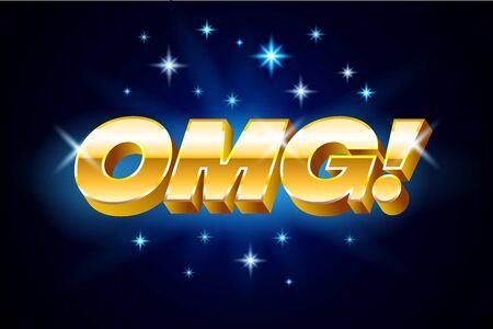 Gold omg inscription on blue background or banner with stars, emotion expression, vector illustration