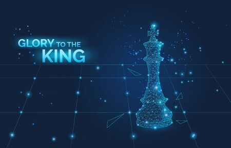 glory to the king sign and low poly chess king on chess board, business strategy and leadership symbol dark vector illustration