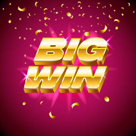 Big win banner with gold text for casino machines, gambling games, success, prize, lucky winner, vector illustration