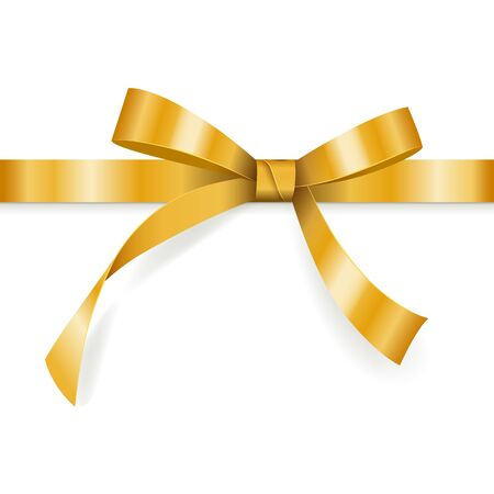 Golden bow with horizontal ribbon isolated on white background for gift decoration, greeting card, holiday design, vector illustration