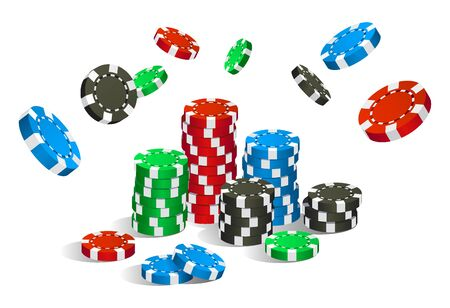 Colorful red, green, blue and black casino chips flying and stack isolated on white background, gambling game concept, vector illustration 向量圖像