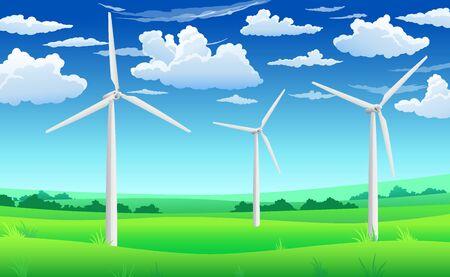 White wind generators, mills, wind turbine on green field and blue sky, alternative source of energy concept, vector illustration landscape