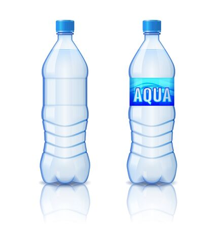 Realistic plastic bottle with mineral water, bottle with and without label isolated on white background, vector illustration