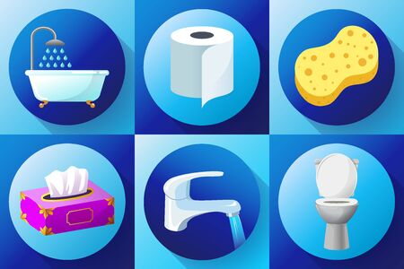 Bathroom flat colored icon set vector - Toilet, water tap, napkins, toilet paper, towels, shower, washcloth and bath sponge