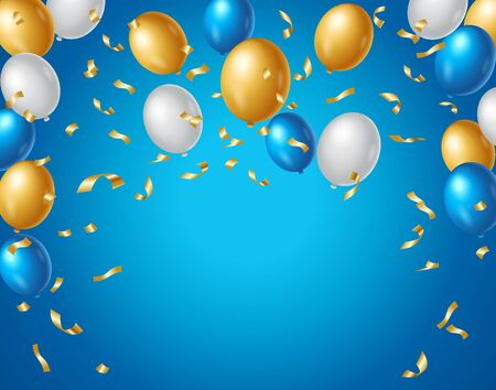 Colored blue, white and gold balloons and golden confetti on a blue background with space for your text. Colorful birthday anniversary background vector.