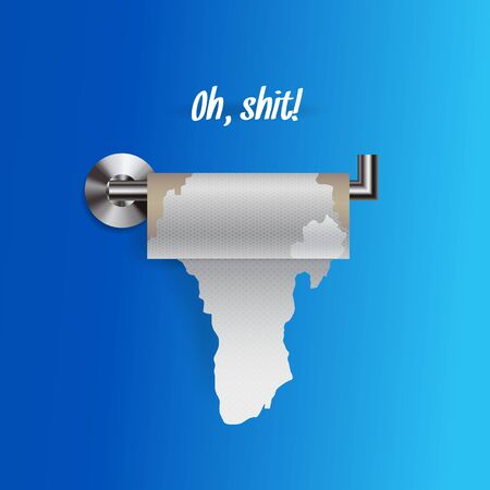 Joke concept of nearly empty torn toilet paper on a holder, realistic toilet paper vector illustration isolated on blue background. Sign Oh, shit