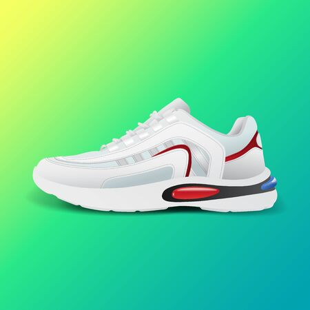 Realistic sport running shoe for training and fitness on gradient background, trendy white and red sneakers, vector illustration