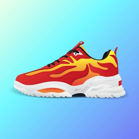 Realistic sport running shoe for training and fitness on gradient background, trendy red and white sneakers, vector illustration