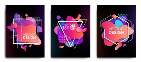 Set of abstract flowing liquid elements, colorful forms, dynamic geometric shapes banners, gradient waves, vector illustration 向量圖像
