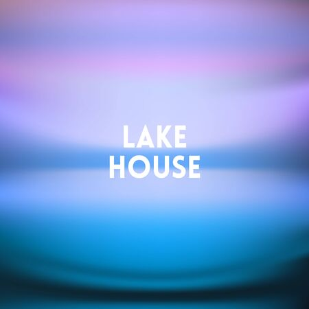 square blurred background - sunset colors With love quote - lake house