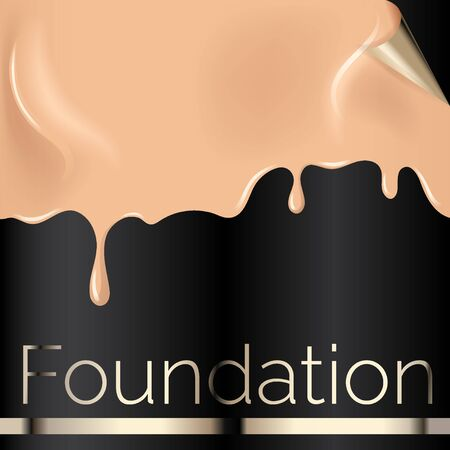 Foundation liquid texture, creamy skin tone foundation vector illustration close up look on black background.