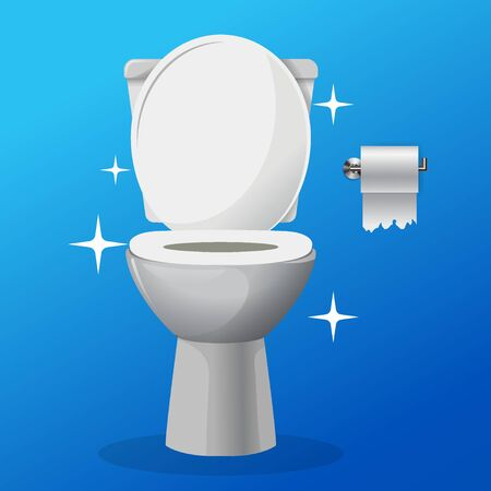 White ceramics vector clean toilet bowl icon. modern toilet in flat style. apartment cleaning service logo, housekeeping, sparkling toilet bowl with a paper roll on a hanger vector. Blue background