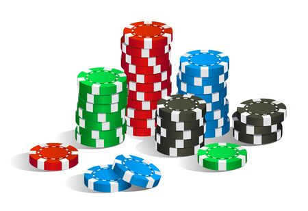 Colorful red, green, blue and black casino poker chips stack isolated on white background, gambling game concept, vector illustration
