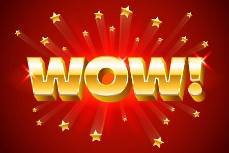 Gold wow inscription on red background or banner with stars, emotion expression, vector illustration