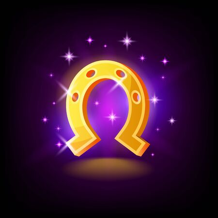 Gold horseshoe with sparkles, symbol of luck, fortune, slot icon on dark purple background, casino concept, vector illustration 向量圖像