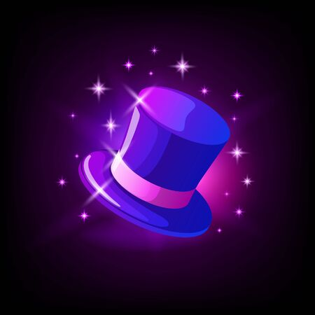 Purple cylinder hat, magicians hat, slot icon for online casino or mobile game on dark background, vector illustration Stock Illustratie