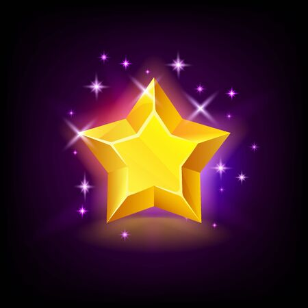 Shining yellow star with sparkles, slot icon for online casino or mobile game on dark background, vector illustration