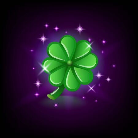 Green four-leaf clover with sparkles, luck symbol, slot icon for online casino or mobile game on dark background, vector illustration