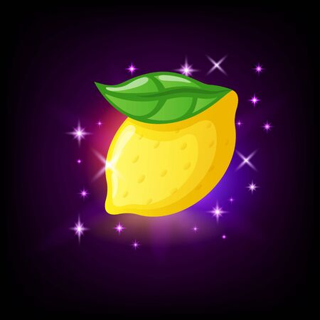 Bright yellow lemon fruit with green leaf, slot icon for online casino or mobile game on dark background, vector illustration Stock Illustratie