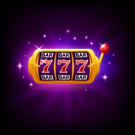 Lucky seven on slot machine, icon for online casino or mobile game, fortune chance symbol, vector illustration with sparkles on dark purple background Ilustrace