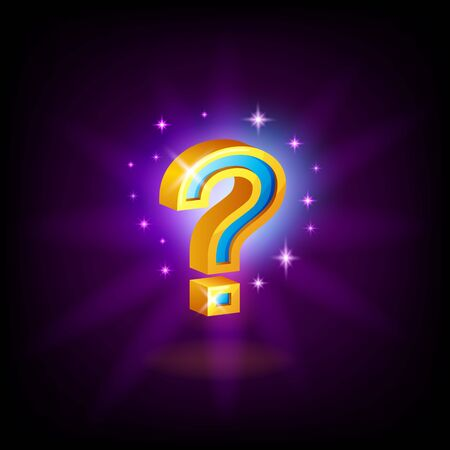 Gold-blue question mark slot icon with sparkles for online casino or mobile game, vector illustration on dark purple background Archivio Fotografico - 129393976