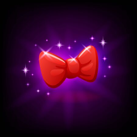 Red bow tie slot icon for online casino or mobile game, vector illustration with sparkles on dark purple background Ilustrace