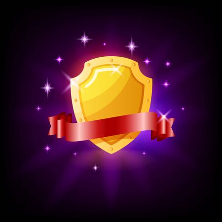 Gold shield and red ribbon slot icon for online casino or mobile game, vector illustration with sparkles on dark purple background