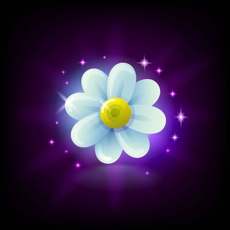 Shining white chamomile flower slot icon with sparkles for online casino or mobile game, vector illustration on dark purple background Ilustrace